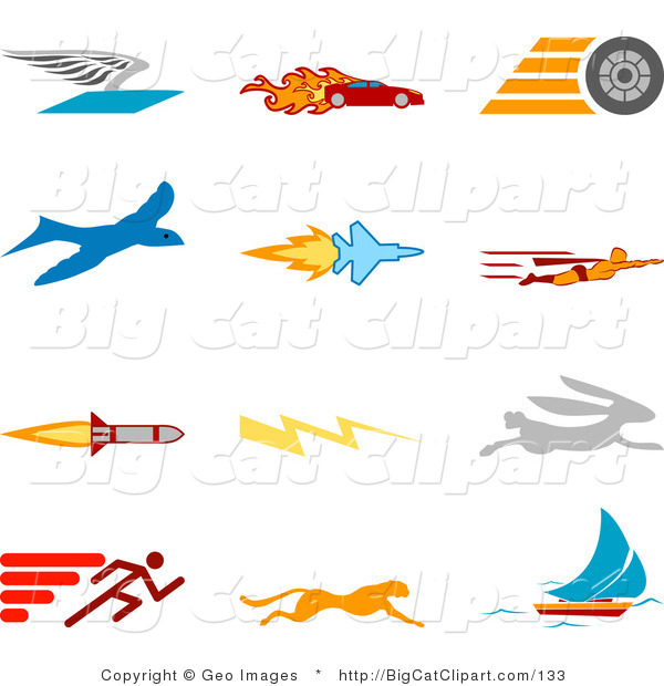 Big Cat Clipart of a Collection of Twelve Colorful Speed Icons of a Winged Envelope, Flaming Race Car, Tire, Blue Dove, Flying Jet, Super Hero, Rocket, Lightning Bolt, Rabbit, Runner, Cheetah and Sailboat, over a White Background