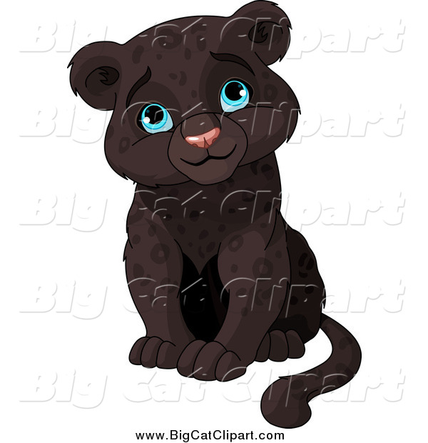 Big Cat Clipart of a Cute Sitting Baby Black Panther Cub Sitting and Smiling