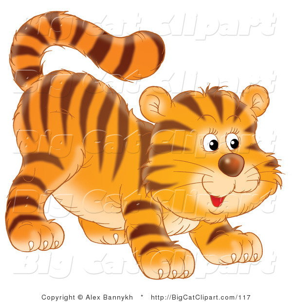 Big Cat Clipart of a Frisky Tiger Cub Ready to Pounce