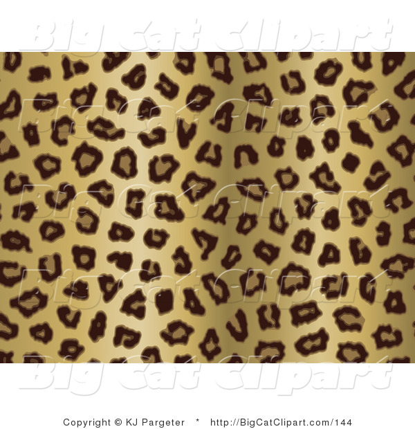 Big Cat Clipart of a Gold Tan and Black Leopard Spots Background