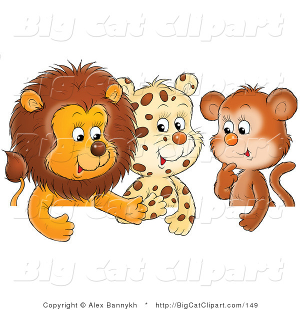 Big Cat Clipart of a Group of Three Friends, a Cute Baby Lion, Leopard and Monkey, Chatting