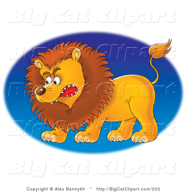 Big Cat Clipart of a Growling Mad Male Lion Facing Left, over a Blue Oval