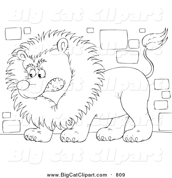 Big Cat Clipart of a Lineart Guard Lion