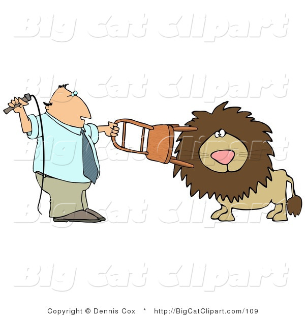 Big Cat Clipart of a Male Lion Trainer Holding a Chair and Whip While Training the Cat