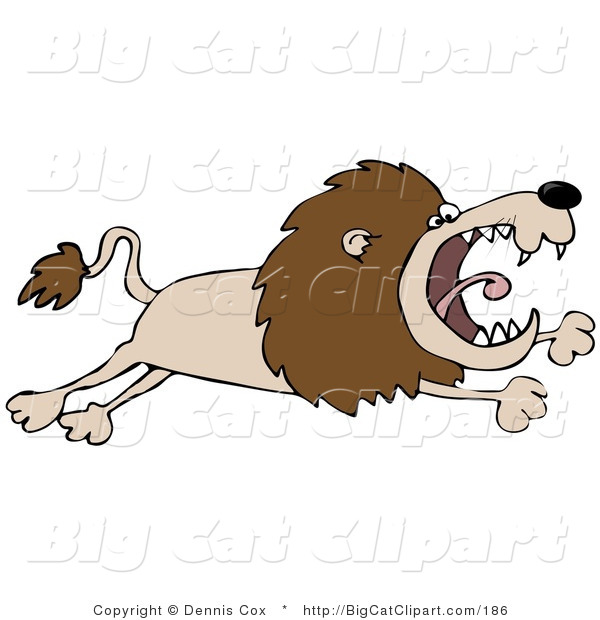 Big Cat Clipart of a Pissed off Lion Leaping