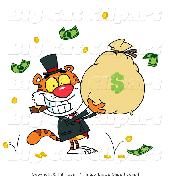 Big Cat Clipart of a Rich Tiger Holding a Bag of Money