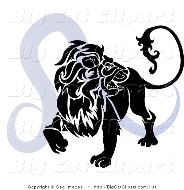 Big Cat Clipart of a Silhouetted Roaring Lion over a Blue Leo Astrological Sign of the Zodiac