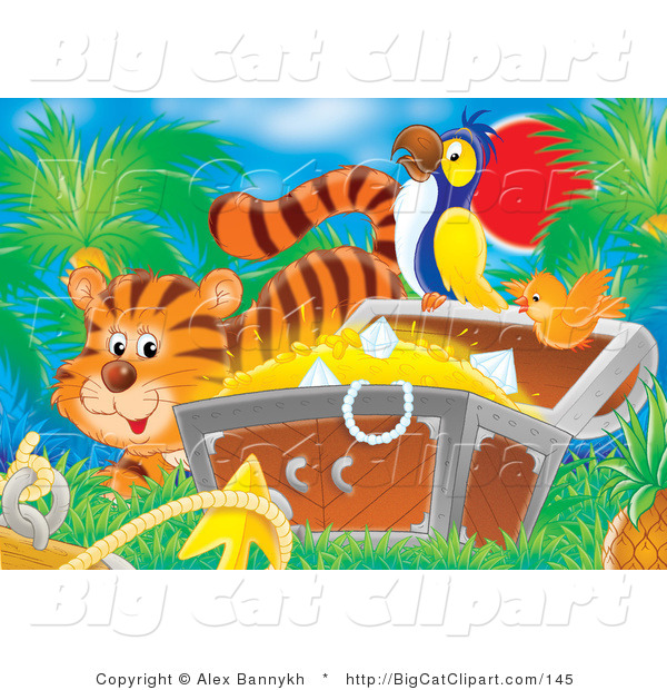 Big Cat Clipart of a Striped Tiger by an Orange Bird Flying by a Parrot Perched on a Treasure Chest Full of Gold and Diamonds