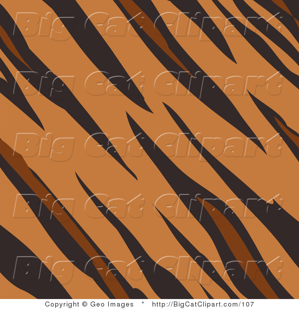 Big Cat Clipart of a Tan Brown and Black Tiger Stripes Print Background