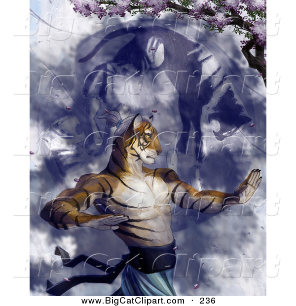 Big Cat Clipart of a Tiger Martial Arts Master Practicing Under a Blossoming Cherry Tree