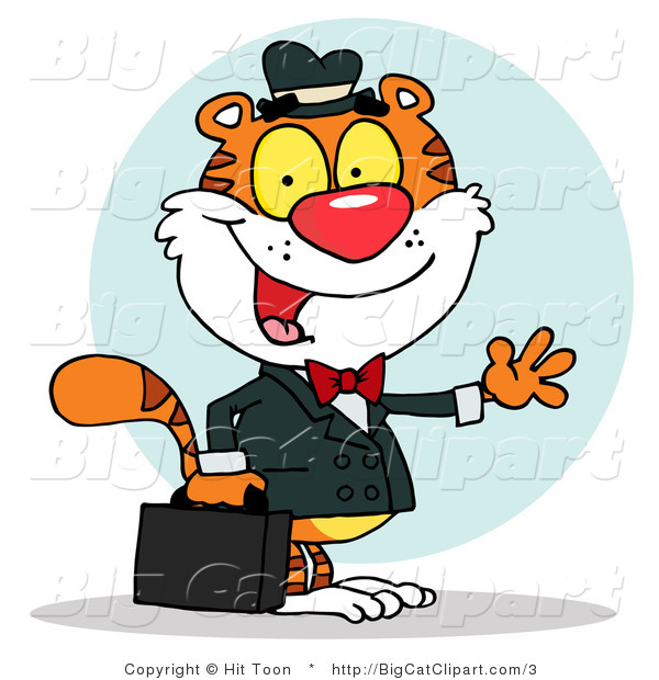 Big Cat Clipart of a Waving Tiger Business Man