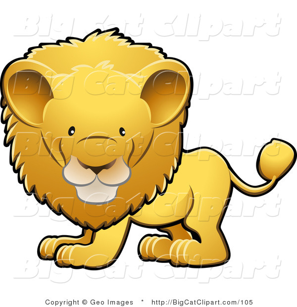 Big Cat Clipart of an Adorable Golden Male Lion with a Big Mane Looking Forward