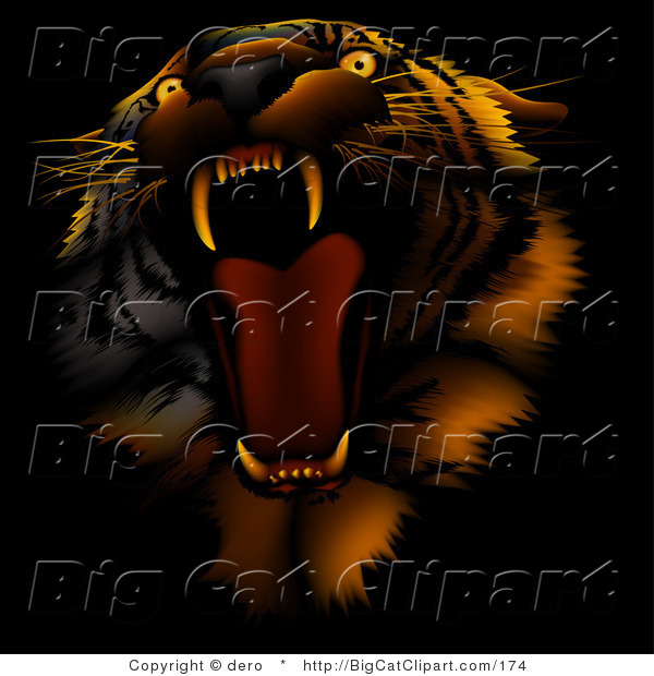 Big Cat Clipart of an Angry Roaring Tiger