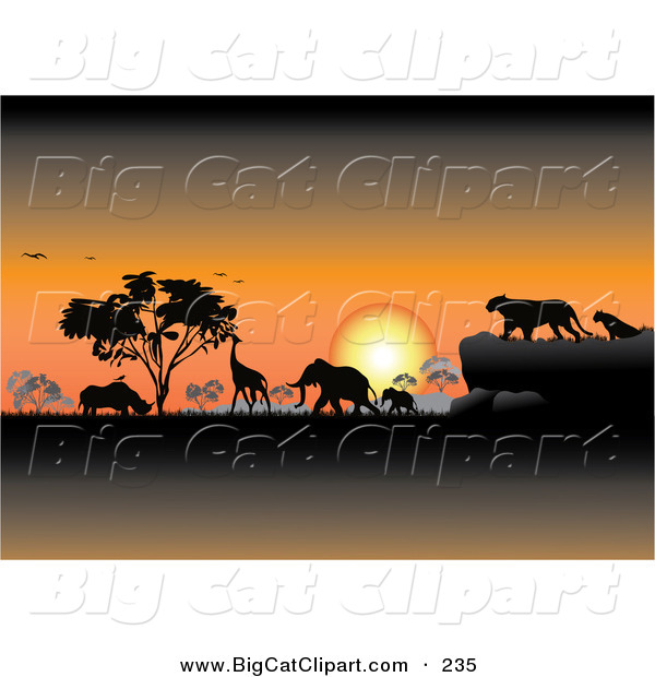 Big Cat Clipart of an Orange Safari Sunset with Silhouetted Animals and Trees