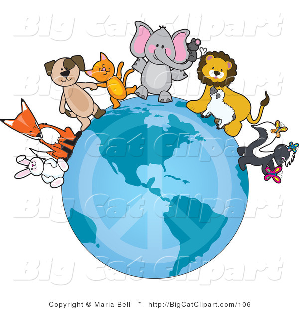 Big Cat Clipart of Cute Critters on a Peace Earth