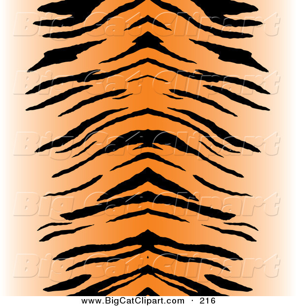 Big Cat Vector Clipart of a Black and Orange Centered Tiger Stripe Pattern BackgroundBlack and Orange Centered Tiger Stripe Pattern Background