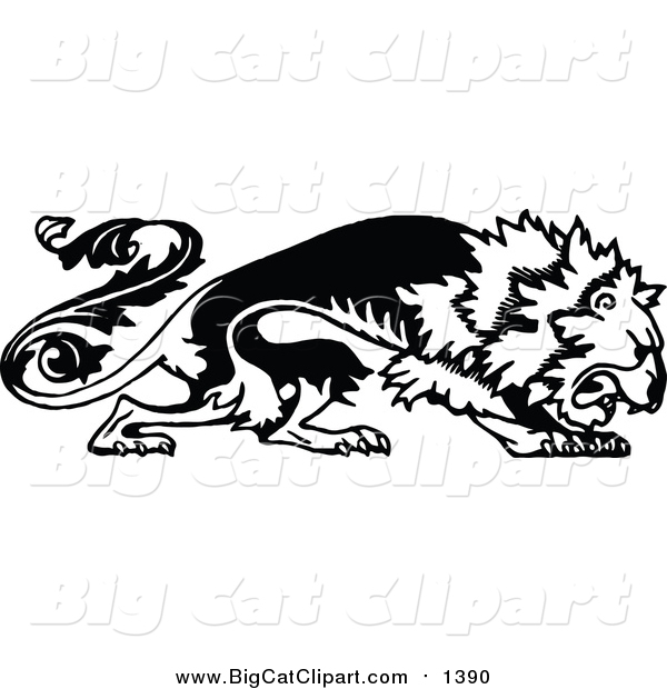 Big Cat Vector Clipart of a Black and White Floral Lion