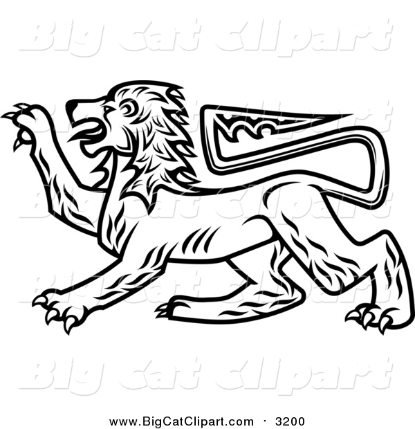 Big Cat Vector Clipart of a Black and White Heraldic Lion