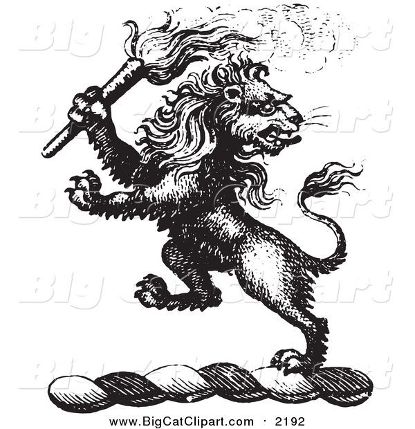 Big Cat Vector Clipart of a Black and White Lion Crest with a Torch