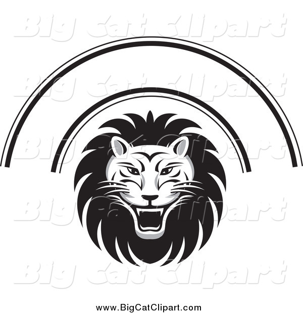 Big Cat Vector Clipart of a Black and White Lion Face and Arch