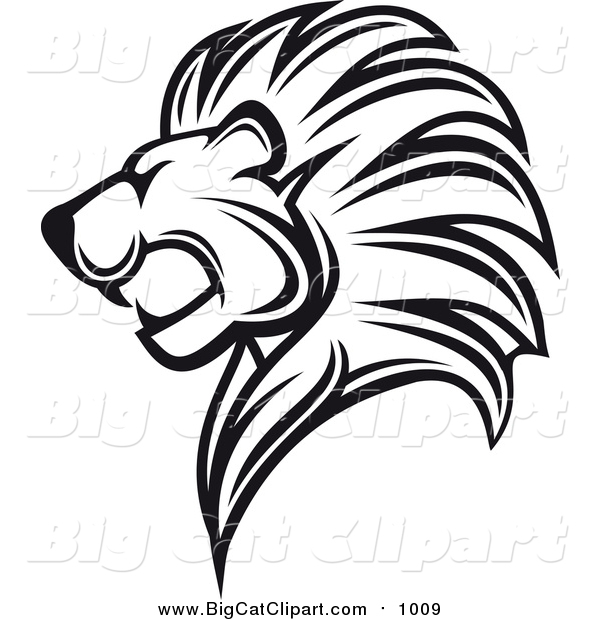 Big Cat Vector Clipart of a Black and White Lion Head in Profile