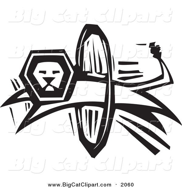 Big Cat Vector Clipart of a Black and White Lion Leaping Through a Hoop
