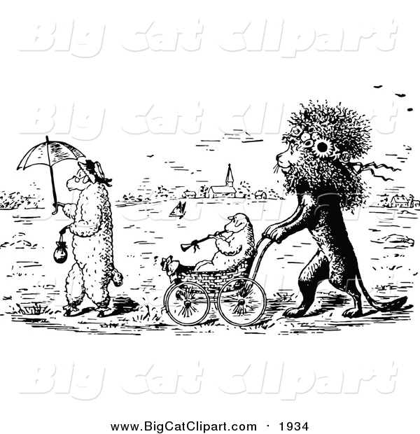 Big Cat Vector Clipart of a Black and White Lion Pushing a Lamb in a Stroller