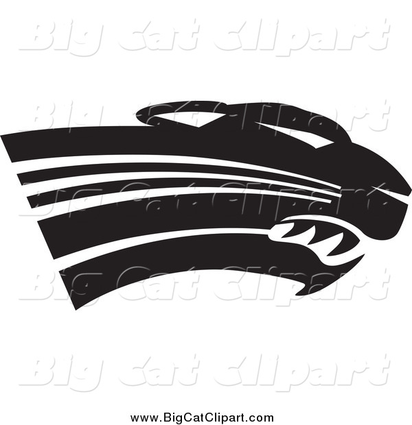 Big Cat Vector Clipart of a Black and White Panther Cougar or Jaguar Head