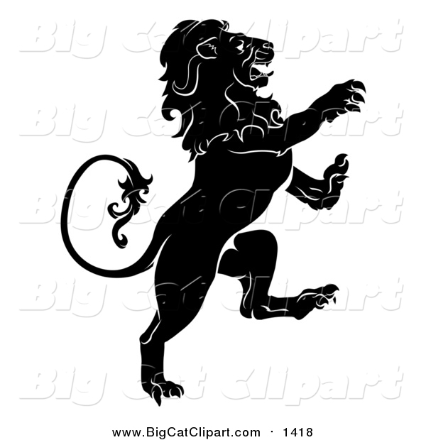 Big Cat Vector Clipart of a Black and White Rearing Heraldic Lion
