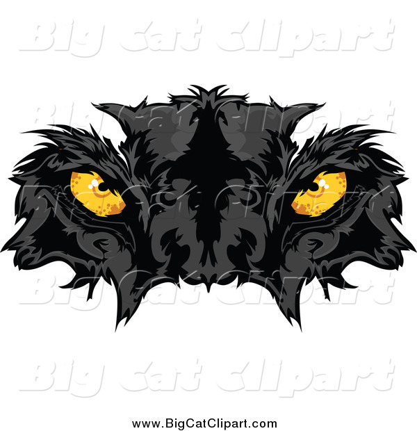Big Cat Vector Clipart of a Black Panther Face with Yellow Eyes