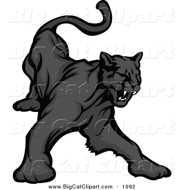 Big Cat Vector Clipart of a Black Panther Growling