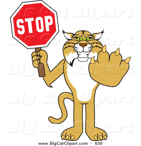 Big Cat Vector Clipart of a Bobcat Holding a Stop Sign