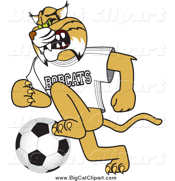 Big Cat Vector Clipart of a Bobcat Playing Soccer