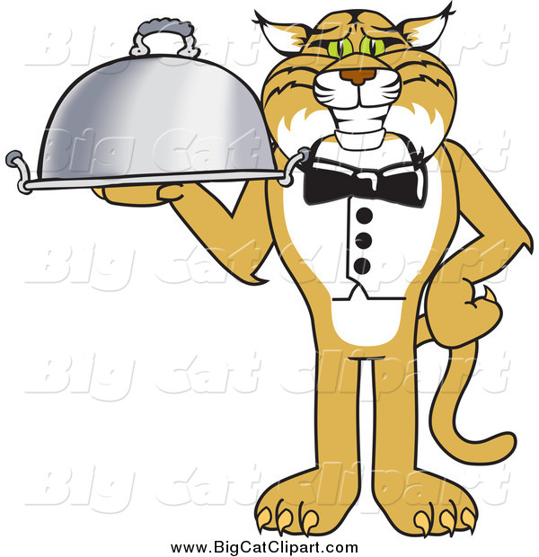 Big Cat Vector Clipart of a Bobcat Waiter Serving a Platter