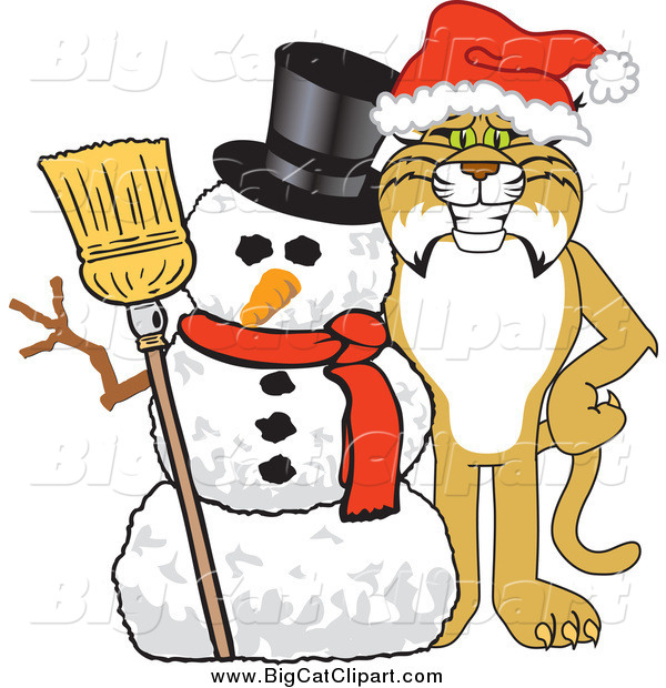 Big Cat Vector Clipart of a Bobcat with a Christmas Snowman
