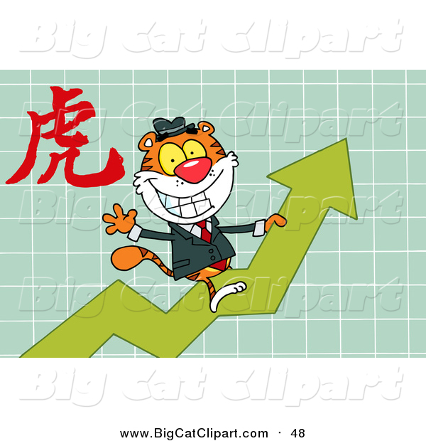 Big Cat Vector Clipart of a Business Tiger on a Growth Arrow, with a Year of the Tiger Chinese Symbol