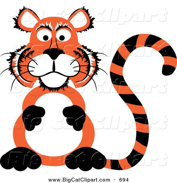 Big Cat Vector Clipart of a Chubby Tiger Sitting up on His Hind Legs and Rubbing His Belly