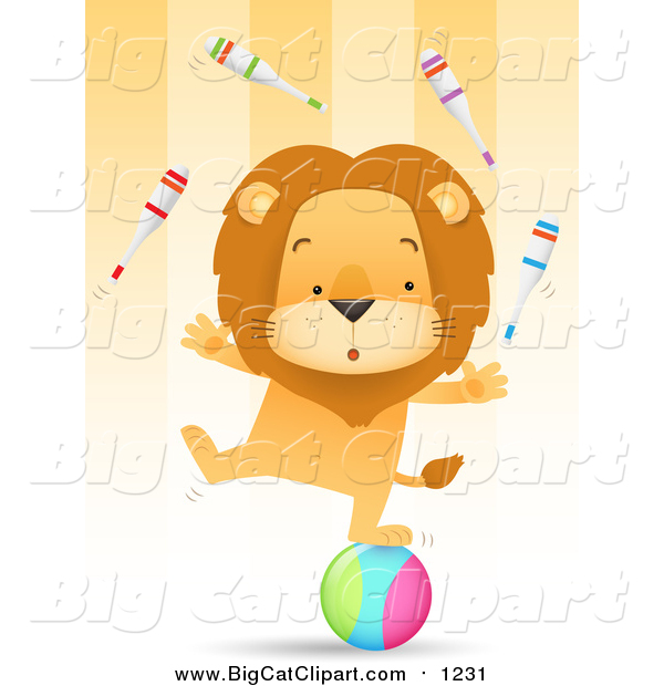 Big Cat Vector Clipart of a Circus Lion Juggling Pins and Balancing One Legged on a Ball