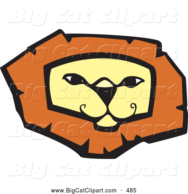 Big Cat Vector Clipart of a Confident Lion Face on White