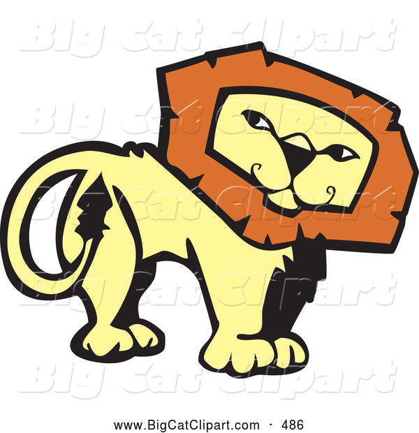 Big Cat Vector Clipart of a Confident Lion Looking Back on White