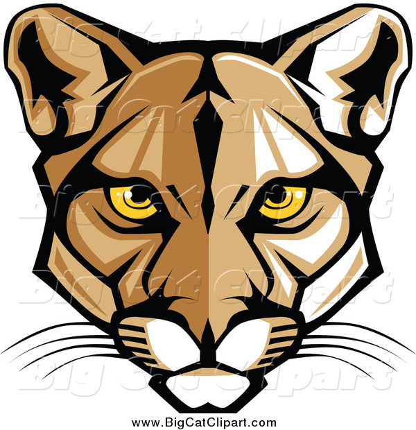 Big Cat Vector Clipart of a Cougar Face with Yellow Eyes
