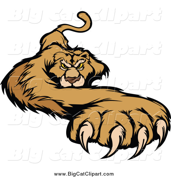 Big Cat Vector Clipart of a Cougar with a Paw Stretched Outwards