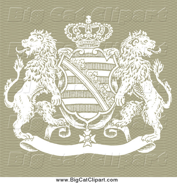 Big Cat Vector Clipart of a Crown Crest Shield and Lions