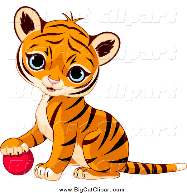 Big Cat Vector Clipart of a Cute Baby Tiger Cub Resting His Paw on a Toy Ball