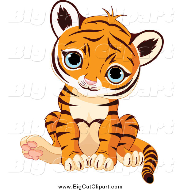 Big Cat Vector Clipart of a Cute Sitting Baby Tiger Cub with Blue Eyes