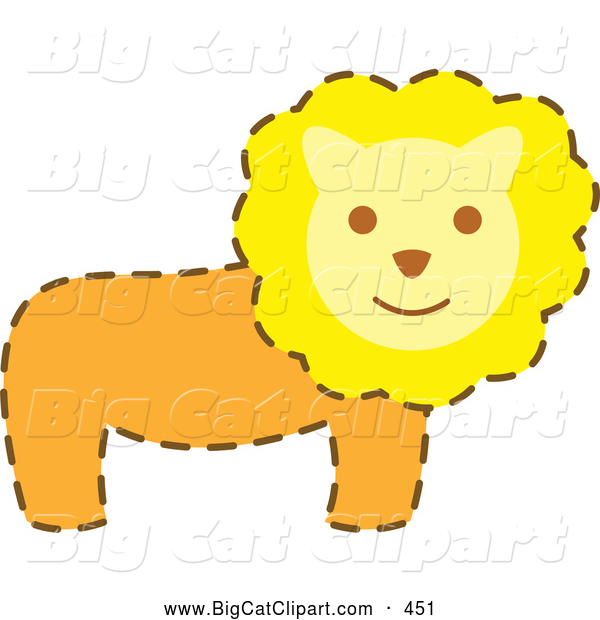 Big Cat Vector Clipart of a Friendly Happy Male Lion with a Brown Dash Outline