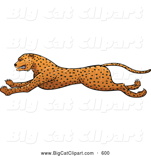 Big Cat Vector Clipart of a Friendly Running Cheetah in Profile