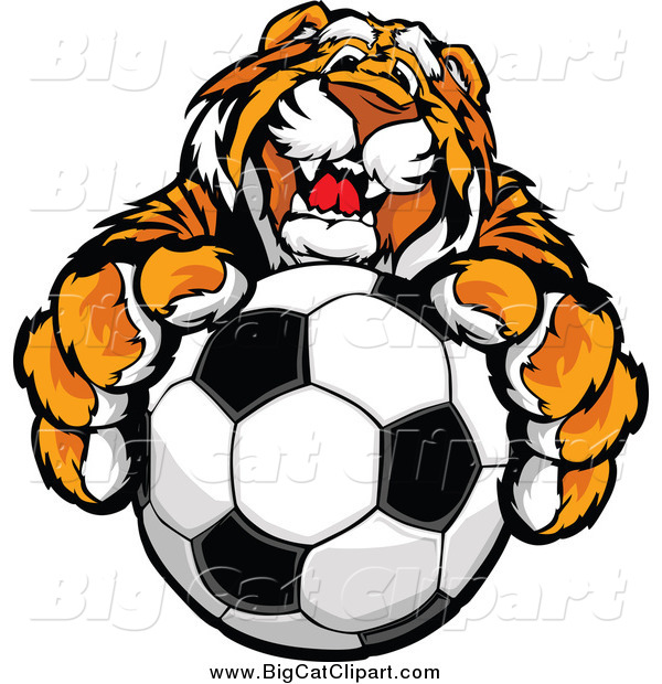 Big Cat Vector Clipart of a Friendly Tiger Mascot Holding up a Soccer Ball