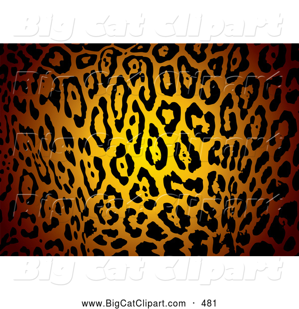 Big Cat Vector Clipart of a Glowing Patterned Jaguar Skin Print Background