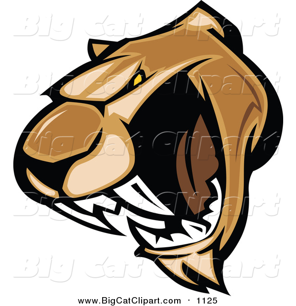 Big Cat Vector Clipart of a Growling Cougar Mascot Face
